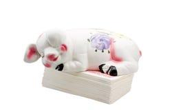уснувший стог дег банка piggy Стоковая Фотография RF