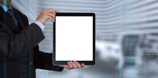 Успех бизнесмена работая с пустым планшетом Стоковое Изображение RF