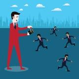 Успех в бизнесе, бизнесмен управлением босса для вектора работы трудно- бесплатная иллюстрация