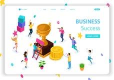 Успех в бизнесе концепции страницы посадки шаблона вебсайта равновеликий, руководство, награды, карьера, успешные проекты, цель бесплатная иллюстрация