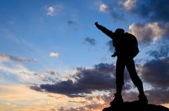 Успех в заходе солнца Стоковые Фотографии RF