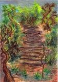 успех лестниц иллюстрации принципиальной схемы 3d деревянный Стоковая Фотография