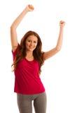 Успех - женщина показывать победа при ее руки поднятые в a Стоковое фото RF