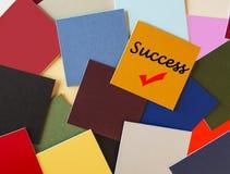 Успех! - Знак по мере того как серия принципиальной схемы дела/экзамен/интервью - Стоковая Фотография