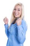 Успех карьеры - мощная женщина изолированная на белизне стоковые изображения
