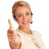 Успех - красивая молодая женщина показывая thump вверх стоковая фотография rf