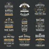 Успех мотивационный и вдохновляющие установленные цитаты Стоковые Изображения RF