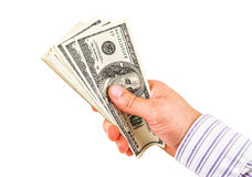 успех расчетного дня дег руки greenbacks Стоковое Изображение