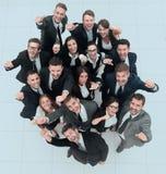 успех результатов диаграммы принципиальной схемы бизнесменов руки повышения команды дела и смотреть c Стоковые Фото