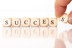Успех, сказанный по буквам с письмами кости Стоковая Фотография RF