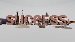 Успех слова и работники который работают на ем стоковое изображение
