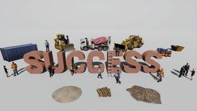 Успех слова и работники который работают на ем стоковые изображения