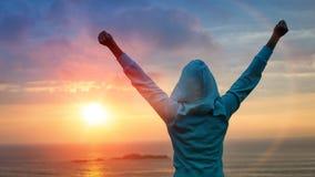 Успех спорта на предпосылке захода солнца Стоковая Фотография