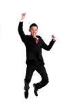 Успех торжества бизнесмена, скакать бизнесмена Изолированный дальше стоковое изображение