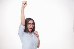 Успешная бизнес-леди на белой предпосылке Стоковая Фотография