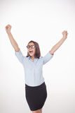 Успешная бизнес-леди на белой предпосылке Стоковое Изображение