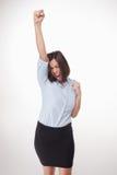 Успешная бизнес-леди на белой предпосылке Стоковое фото RF