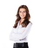 Успешная бизнес-леди на белой предпосылке Стоковое Изображение RF