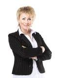 Успешная бизнес-леди на белой предпосылке Стоковая Фотография RF