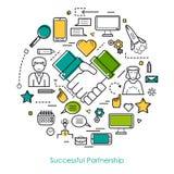 Успешная линия концепция партнерства Стоковые Изображения