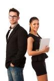 Успешная пара дела стоя совместно, уверенно и p Стоковые Фотографии RF