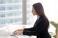 Успешная серьезная дама дела работая на столе офиса используя Ла Стоковые Фото