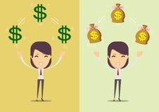 Успешная счастливая женщина с деньгами Комплект Стоковая Фотография RF