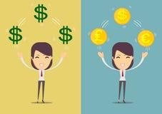 Успешная счастливая женщина с деньгами Комплект Стоковое Изображение RF