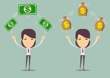 Успешная счастливая женщина с деньгами Комплект Стоковые Фото