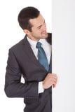 Успешные бизнесмены представляя пустую доску Стоковое Изображение
