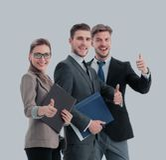 Успешные бизнесмены смотря счастливый и уверенно Стоковое фото RF