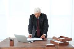 Успешные документы подписания бизнесмена в офисе Стоковые Фото