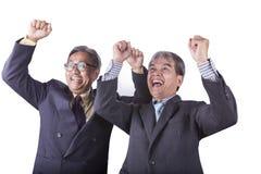 Успешные пары эмоции счастья азиатских старших мам дела Стоковое фото RF