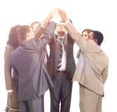 Успешные руки повышения команды дела совместно вверх Стоковые Изображения RF