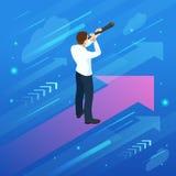 Успешный бизнесмен с spyglass на стрелке Планирование бизнеса перспективы, возможности карьеры, и лестница карьеры бесплатная иллюстрация