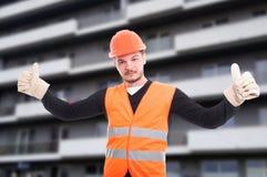 Успешный построитель показывает двойник как знак Стоковые Фотографии RF
