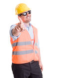 Успешный подрядчик не делая выжимк или никакой жест Стоковое Изображение