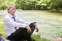 Успешный счастливый бизнесмен Стоковые Фотографии RF