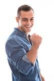 Успешный усмехаясь красивый изолированный человек смешанной гонки. стоковое фото