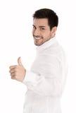 Успешный человек изолированный над белизной с большими пальцами руки вверх показывать стоковая фотография rf