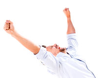 Успешный человек с оружиями вверх Стоковое Изображение RF