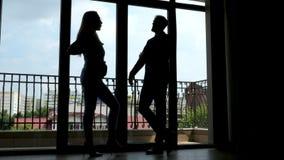 2 успешных делового партнера говоря около окон офиса te акции видеоматериалы