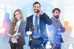 3 успешных менеджера, социальный сетевой интерфейс иллюстрация вектора