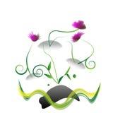 Успокоенные утесы и цветок Стоковая Фотография