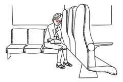 Уставшая женщина на фуре сидя на стенде иллюстрация штока