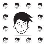 усталость на значке стороны Детальный набор лицевых значков эмоций Наградной графический дизайн Один из значков собрания для вебс иллюстрация вектора