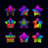 Установите абстрактного шаблона вектора звезды иллюстрация вектора