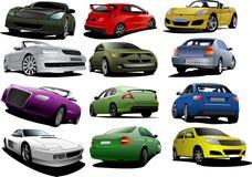 Установите 12 автомобилей на дороге иллюстрация вектора