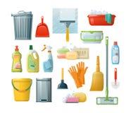 Установите аксессуары для очищать: ведра, инструменты, щетки, тазы, перчатки, губки иллюстрация штока