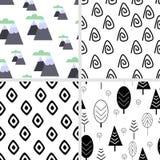 Установите безшовной картины в скандинавском стиле - иллюстрации вектора, eps иллюстрация штока
